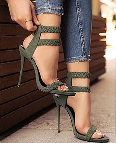 Womens Ankle Strappy Open Toe Pumps High Heel Sandals | Heeled Sandals
