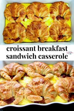 Croissant Breakfast Sandwich Casserole Flaky croissants two kinds of cheese bacon and eggs make up this scrumptious breakfast casserole. An easy breakfast casserole recipe that is perfect for brunch! Source by veronikaskitche Breakfast And Brunch, Croissant Breakfast Sandwich, Breakfast Dishes, Breakfast Sandwich Recipes, Clean Eating Snacks, Healthy Snacks, Healthy Recipes, Easy Breakfast Casserole Recipes, Brunch Casserole