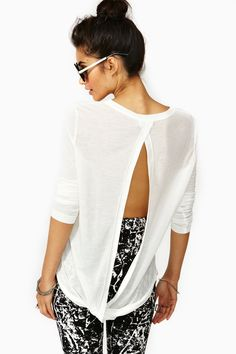 Twisted Split Tee in White