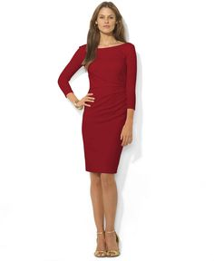 Lauren Ralph Lauren Dress, Three-Quarter-Sleeve Ruched Sheath - Dresses - Women - Macy's
