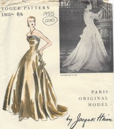 1955-Vintage-VOGUE-Sewing-Pattern-B34-DRESS-EVENING-GOWN-1290-By-JAQUES-HEIM