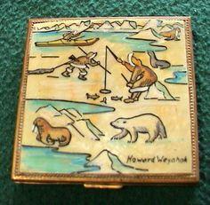 Vintage+Howard+Weyahok+Rock+Eskimo+Artist+Alaska+Scene+Powder+Compact+