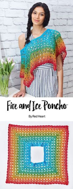 Fire and Ice Poncho free crochet pattern in It's a Wrap Rainbow yarn. Beautiful colors and a light year-round yarn weight are combined for a poncho you will love wearing. Only problem is, all the colors are so gorgeous it's hard to decide which color to crochet with first.#Itsawrap #oneballshawl