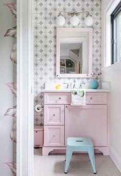 Little Girl Bathrooms, Purple Bathrooms, Master Bathrooms, Master Bedroom, Girl Bathroom Decor, Bathroom Ideas, Bathroom Designs, Bathroom Sinks, Rose Gold Room Decor