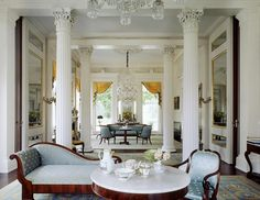 Corinthian columns and double parlors of Duncan Phyfe & Son rosewood veneered furnishings circa . - Architecture and Home Decor - Bedroom - Bathroom - Kitchen And Living Room Interior Design Decorating Ideas - Greek Revival Architecture, Southern Architecture, Interior Architecture, Interior Design, Classical Architecture, Residential Architecture, Historical Architecture, Room Interior, Traditional Interior