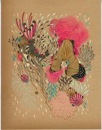 """Beacon,"" ""Chimera,"" ""Delight,"" & ""Dash"" - pen & ink on vintage paper by Yellena James"