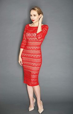 """This is a detailed tutorial for crochet lace dress for women named """"Dolce"""". Bodycone shaping, variable sleeves length, lots of photos and diagrams. I made at least 6 similar dresses, so you can see color options and choose which is the best for you."""