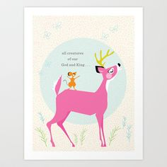 Deer & Mouse Singing Art Print by Lay Baby Lay  - $18.00