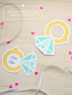 Diamond Ring printable gift tags for bridal shower or wedding gift!