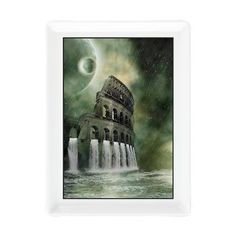 new at @CafePress : The #flood of #Rome Rectangular #Cocktail #Plate From the windows of the #Colosseum fall down #waterfalls! The Colosseum in Rome is flooded and other #planets orbit the earth! An amazing fantasy scene!  $11.49