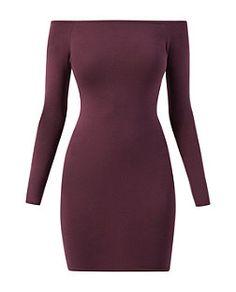 Burgundy (Red) Purple Long Sleeve Bardot Neck Bodycon Dress | 322686267 | New Look