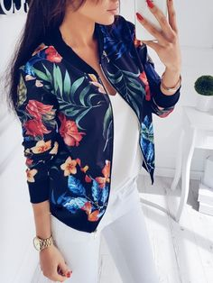 Stylish Zipper Closure Floral Print Casual Jacket