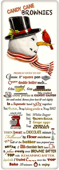 Candy Cane Brownies Recipe 100% Cotton Flour Sack Dish Towel Tea Towel Make the brownies then wrap in the towel and give as a gift!