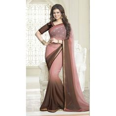 New Double color Light Peach and Light Brown Plain Saree with Lace Indian Designer Sarees, Designer Sarees Online, Indian Sarees, Saree Wedding, Wedding Attire, Plain Saree, Bollywood Party, Indian Dresses, Indian Wear