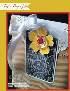 Hostess Thank You Gift with Chalk Talk Framelits, Tag a Bag and Flower Shop stamp set and Pansy Punch.  All products Stampin'Up!