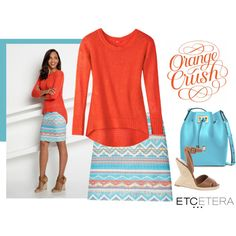 Etcetera | Summer 2016: BISCAYNE orange sweater with NATIVE orange and turquoise skirt. www.etcetera.com.