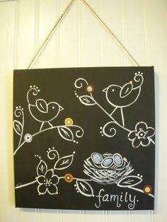 Family nest Original canvas painting 12 x 12 Bird Eggs Folk art Hand painted wall artwork Handmade sign Chalkboard style Black white tree by theivylane on Etsy