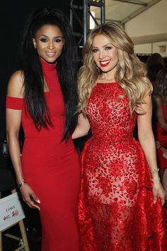 Ciara and Thalia behind the scenes at the 2015 Red Dress Fashion Show