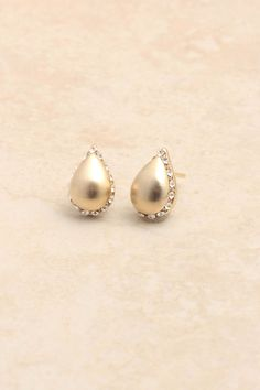 Brushed Gold Crystal Teardrops. Classic.