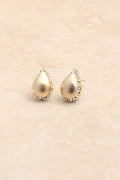 Brushed Gold Crystal Teardrops