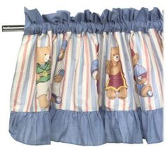 """Club U.S.A. Window Valance . $19.99. Sports bears on blue, white and red stripes. Denim looking material on top and bottom. Matches the rest of the Club USA collection. Made of Cotton. Product Description                Go Team Teddies! Little ones can join the major leagues when  you accent their world with this adorable Club U.S.A. window valance.  Featuring colorful teddy """"athletes"""" from baseball, basketball,  football, and soccer fame, this machine-washabl..."""