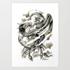 Dragon Phoenix Tattoo Art Print Art Print by Cathy FitzGerald - $17.00