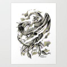 Dragon Phoenix Tattoo Art Print Art Print by Cathy FitzGerald - $17.00