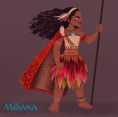 Early concept art Moana with cape
