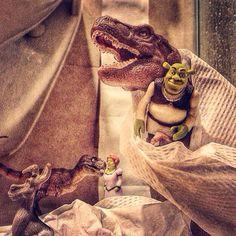 Hiding in the toilet will not save Shrek family from T-Rex & Junior T-Thursday appetite! T-