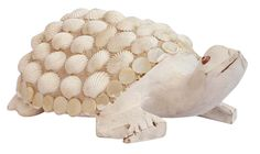 "Bulk Wholesale Hand-Carved 6"" Kadam Wood White Statue / Sculpture of a Tortoise Enhanced with White Sea-Shells – Old Indian Art – Rich Home Décor"