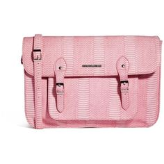 French Connection Snake Satchel (51 BAM) ❤ liked on Polyvore featuring bags, handbags, pink satchel, croc handbags, french connection handbags, vegan leather handbags and crocodile handbags