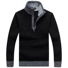 Men Brand Sweaters Warm Winter Zipper Pullover Cashmere Wool Sweaters Man Casual Knitwear Fleece Velvet Clothing Big Size M-3XL