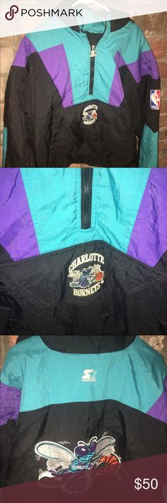 Vintage Starter Jacket Very nice Charlotte Hornets Starter Jacket. Men's Size Large. Jacket was well cared for and loved. If you grew up in the 90's, you know all about these jackets. Zipper is fully operational, no staining, no pulls and no runs. Very very clean. Awesome Jacket!! Starter Jackets & Coats Puffers