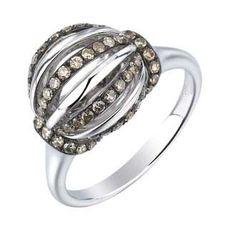 0.56 Carat Champagne Diamond 14K White Gold Women Rings 4.29g: Ring Size: 7 (Sizable)