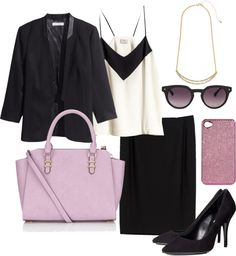 office outfit inspiration tube skirt silk top black blazer