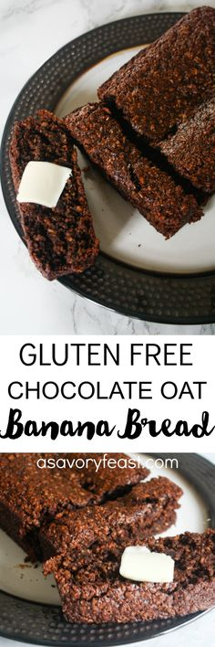 We all know that banana bread is better with chocolate chips, right? Why not make it even better by making the whole bread chocolate? This delicious Chocolate Oat Banana Bread is also gluten free and dairy free Dessert Sans Gluten, Gluten Free Desserts, Healthy Desserts, Gluten Free Recipes, Delicious Desserts, Dessert Recipes, Yummy Food, Gf Recipes, Flour Recipes