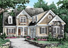 Stoneleigh Cottage - Home Plans and House Plans by Frank Betz Associates #stoneleighcottage #homeplans #frankbetz  #floorplans #capecod
