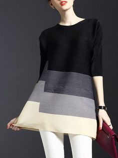 Ribbed Color-block Tunic. $89.00. A little kick to the horizontal color blocking.