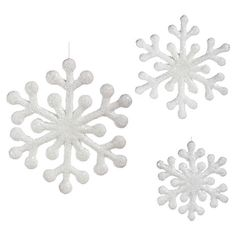 3 Piece White Snowflake Ornament Reviews ❤ liked on Polyvore featuring home, home decor, holiday decorations, white ornaments, snow flake ornaments, white snowflake ornaments, snowflake ornaments and white home accessories