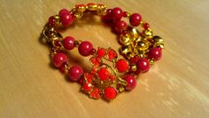 Coral Mauve Beaded Gold Finished Bracelet by FlowerFelicity, $12.99