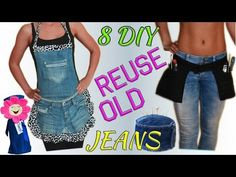 8 Creative DIY Ways HOW TO REUSE / RECYCLE OLD JEANS - YouTube