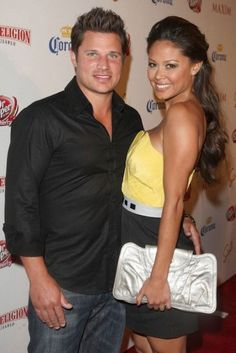American singer, Nick Lachey and her wife Vanessa...