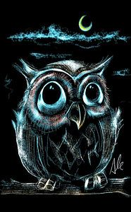 Owl Drawing - An Owl Friend by Alessandro Della Pietra