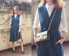Mayo Wo - N12h Before It All Shirt, Uniqlo Teal Dress, Gucci Print Bag, Gucci Horsebelt Loafer - Sage
