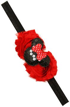 Baby Girls Mickey Mouse Shabby Chic Red Headband Minnie Mouse Disney trip Vacation Little Girls Headbands by BabyGirlTutus on Etsy
