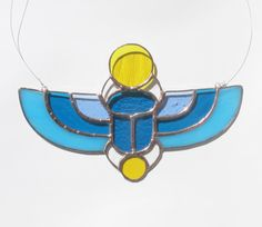 Stained Glass Ancient Egyptian Winged Scarab by SunriseGlassStudio