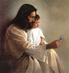 Jesus with a boy & a butterfly