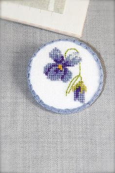 Hand embroidered Floral pin brooch  Fabric brooch  Pansies