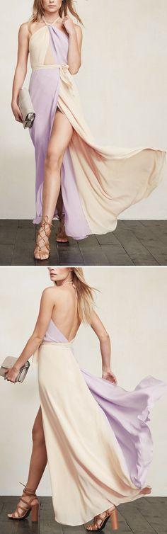 Lavender colorblock gown