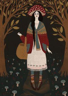 illustration by Alexandra Dvornikova Art And Illustration, Arte Sketchbook, Mushroom Art, Arte Popular, Graphic, Love Art, Art Inspo, Fairy Tales, Folk